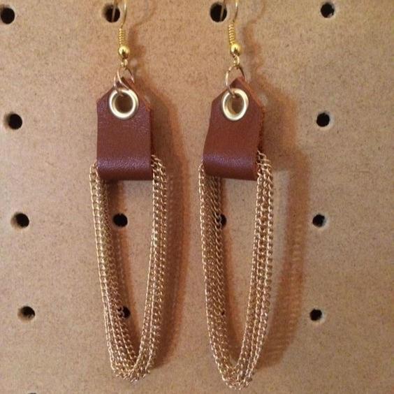 Leather & Chain Earrings