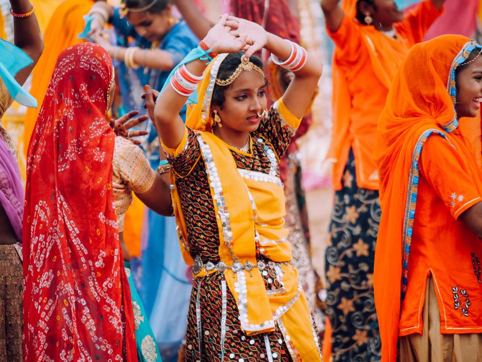 Rajasthani dancer at Pushkar Camel Fair, India