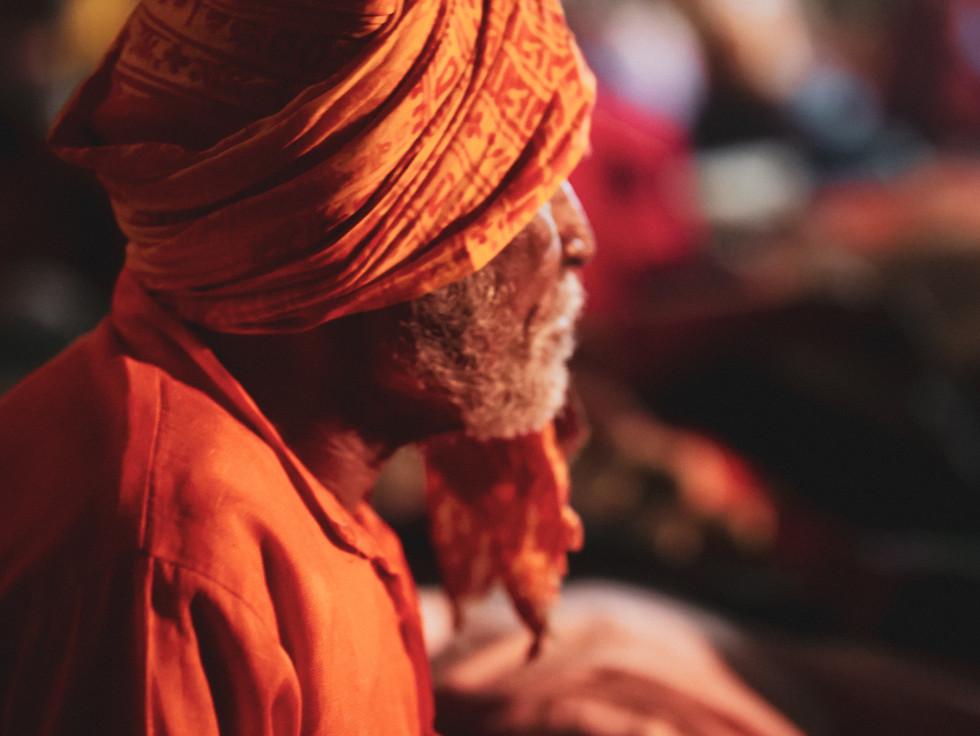 Portrait of sadhu at Ram Raja Celebration in Orchha, India
