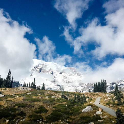 Clouds and blue skies in Mt. Rainier National Park, WA, USA