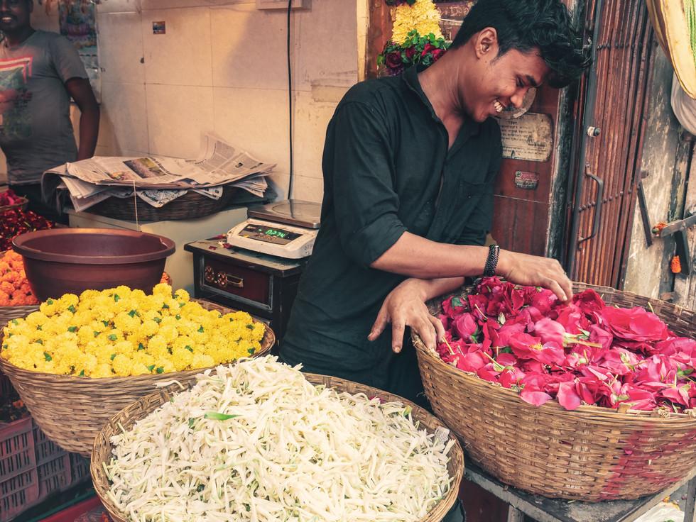 Flower vendor at Dadar Flower Market, Mumbai, India