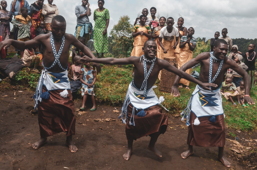 Traditional Rwandese dancers in village outide of Musanze, Northern Province