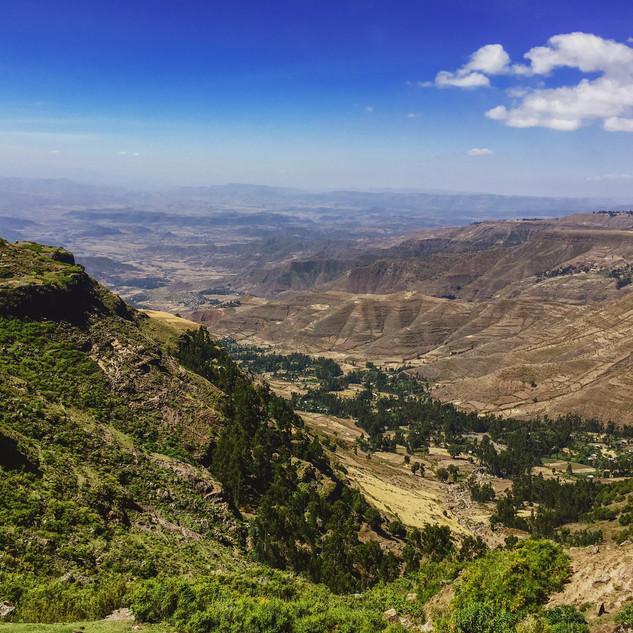 Overlooking mountains in Amhara region, Ethiopia