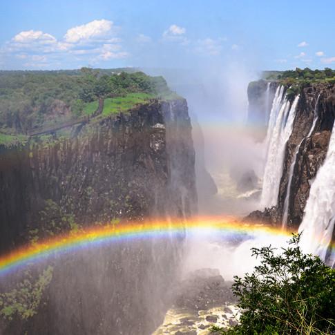Double rainbow over Mosi-oa-Tunya (Victoria Falls), Zimbabwe