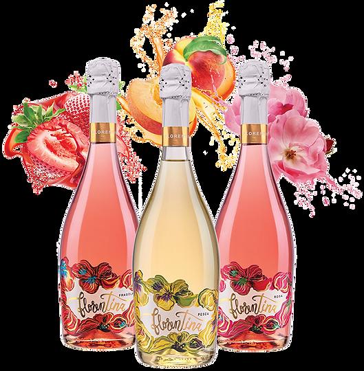 Florentina bottles with fruit splashing-