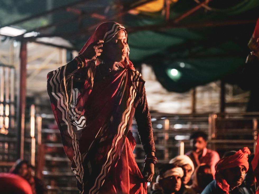 Dancer and worshipper at Ram Raja Celebration in Orchha, India