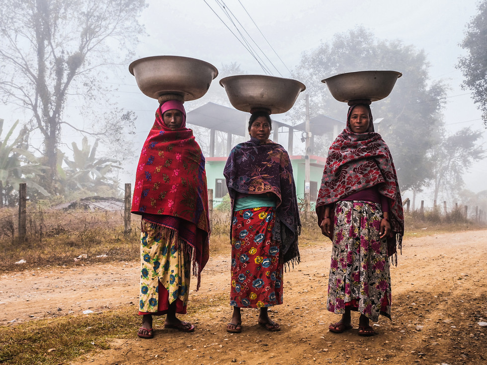 Nepali women in a village on the outskirts of Chitwan National Park, Nepal