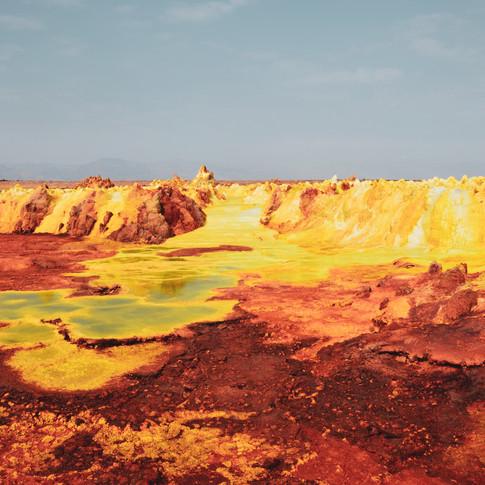 Colorful sulfur lakes in Dallol, Danakil Depression in the Afar Region of Ethiopia