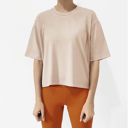 ORGANIC COTTON WIDE-FIT T-SHIRT - SAND