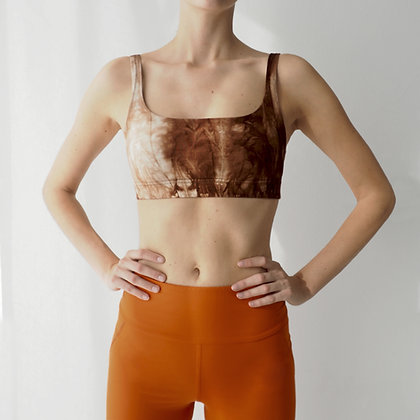 SPORTS BRA - BROWN TIE-DYE