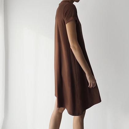 POCKET DRESS - BROWN