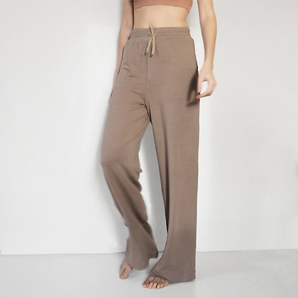 WIDE LEG SWEATPANTS - WALNUT