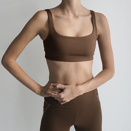 TWOTONE SPORTS BRA - CHOCOLATE/BEIGE