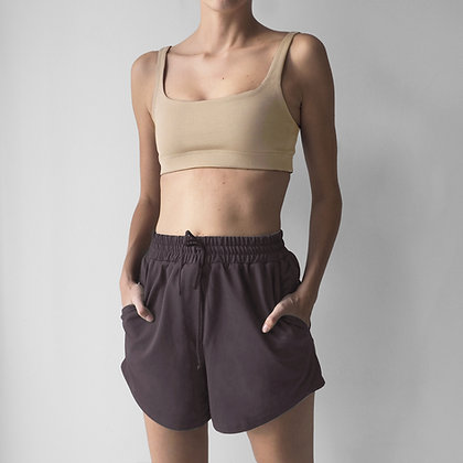 HIGHWAIST SHORTS - DARK BROWN