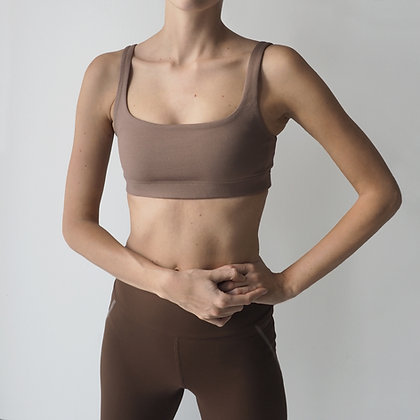 TWOTONE SPORTS BRA - WALNUT/GREY
