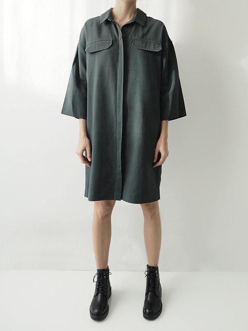SMOKY GREEN SHIRT DRESS