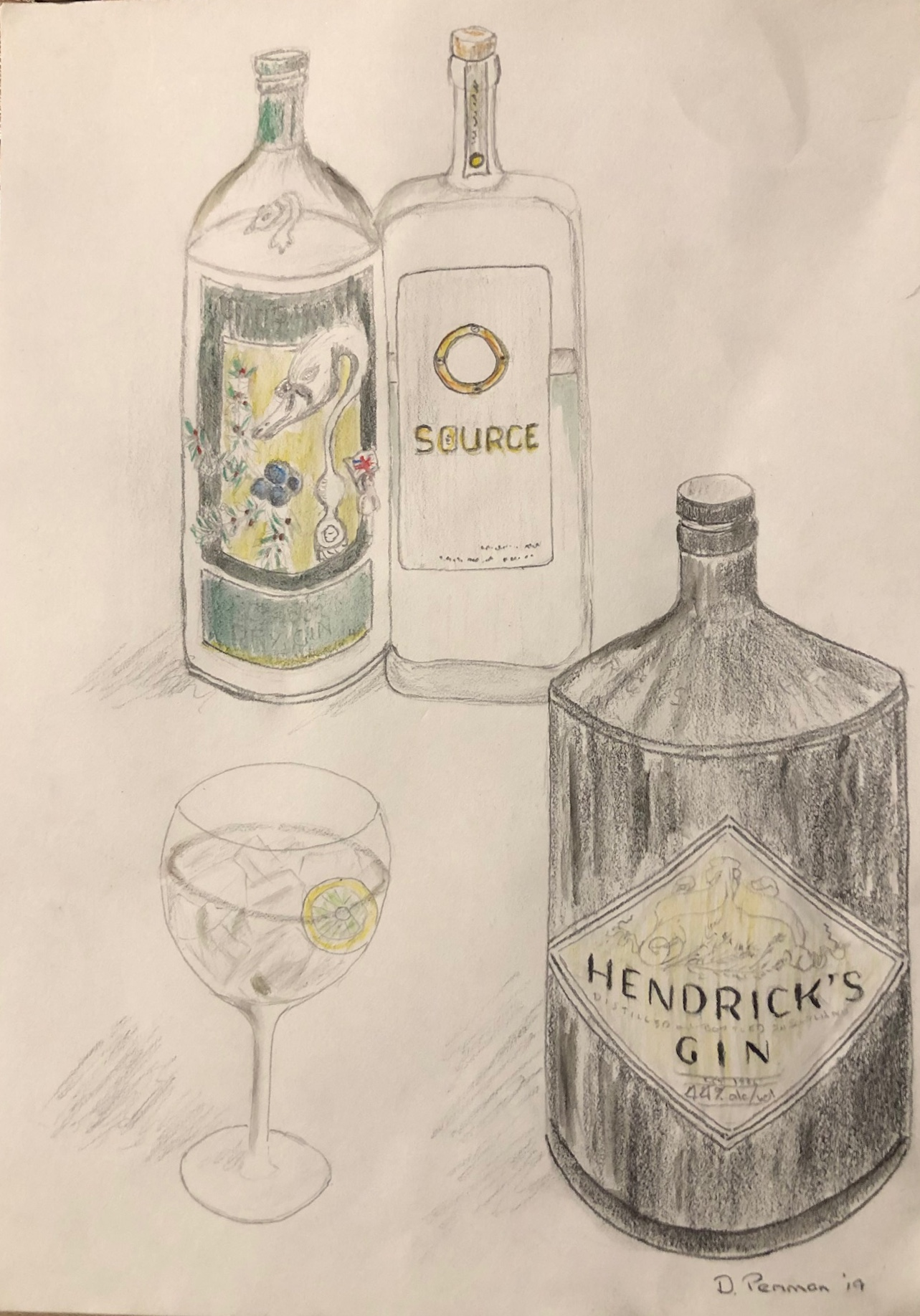 Gin!  Pencil and watercolour on paper