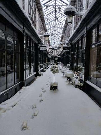 Snowing inside the Arcade.