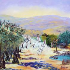 Templiers aux chevaux blancs 100x100cm