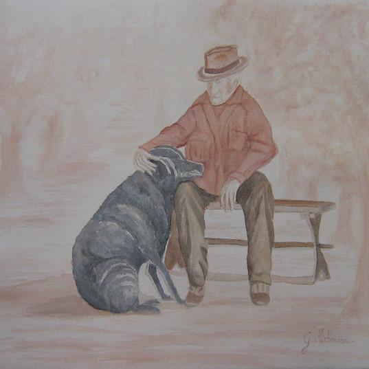 Vieil homme et son chien