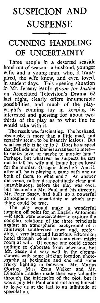 Room for Justice review in The Times 31 December 1962
