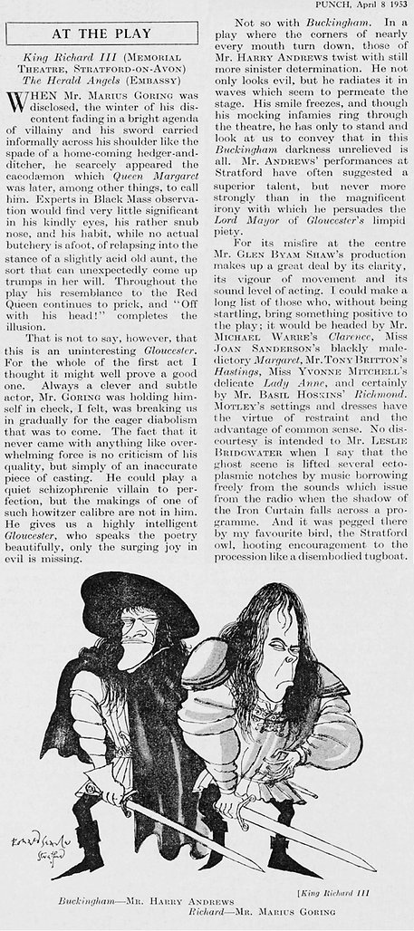 Richard III review by Eric Keown & caricatures by Ronald Searle in Punch 8 April 1953