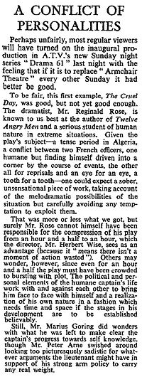 The Cruel Day review in The Times 20 March 1961