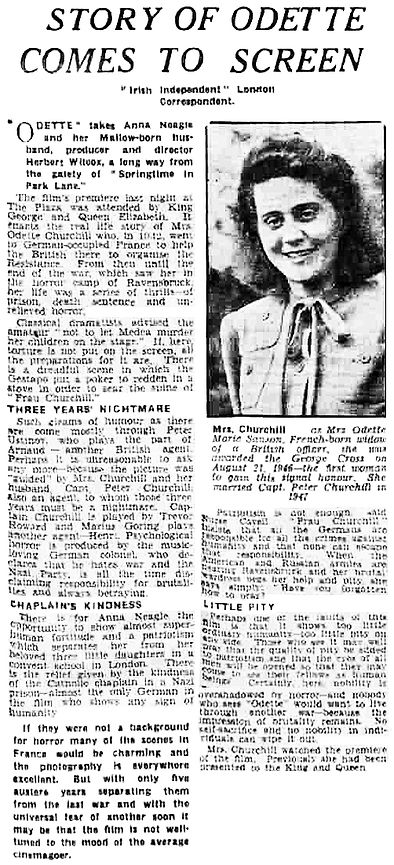 Odette review in the Irish Independent 7 June 1950