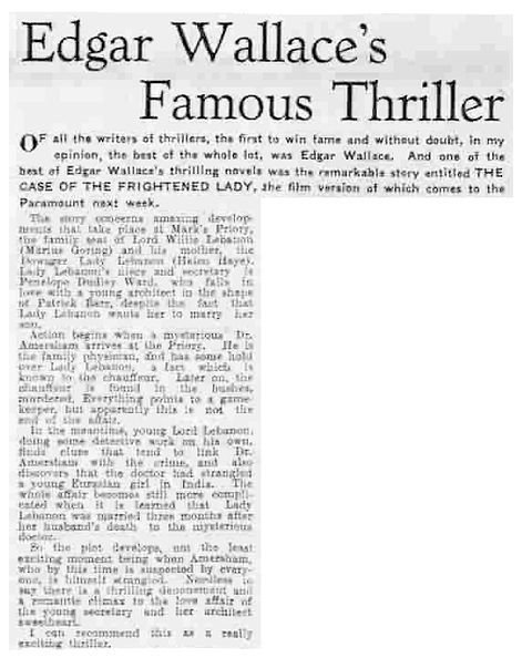 The Case of the Frightened Lady review in the Liverpool Evening Express 14 October 1940