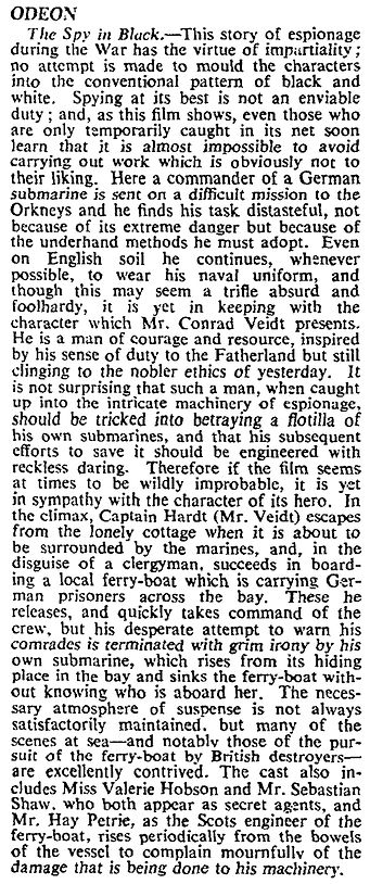 The Spy in Black review in The Times 31 July 1939