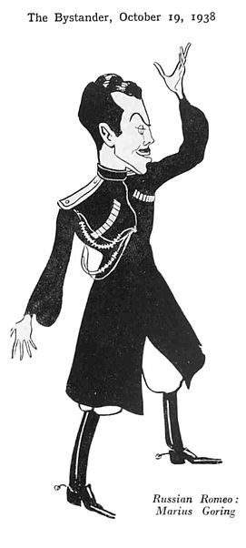 Marius Goring caricature as Leonid Shervinsky in The White Guard 19 October 1938