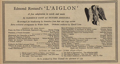 L'Aiglon cast list in The Radio Times 16 November 1936