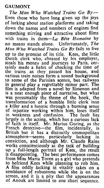 The Man Who Watched Trains Go By review in The Times 29 December 1952