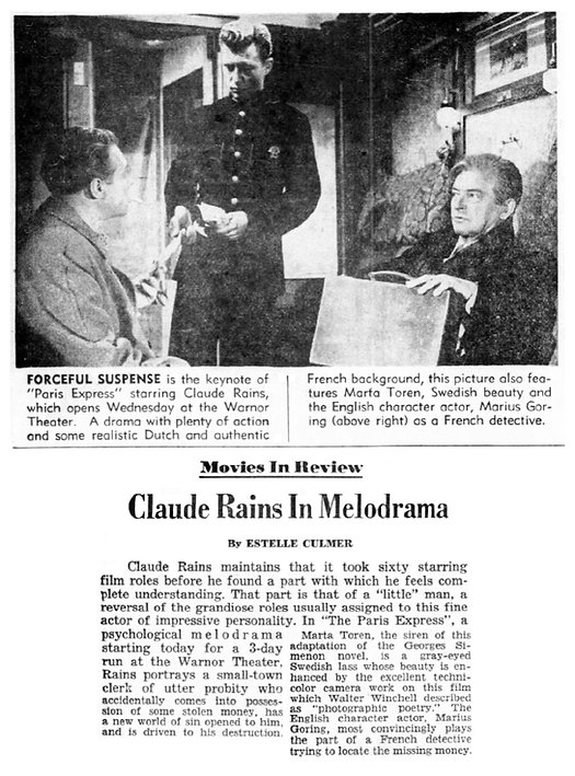 The Man Who Watched Trains Go By review in the Fort Lauderdale News 17 January 1954
