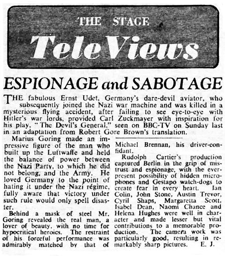 'The Devil's General' review in The Stage 22 December 1955