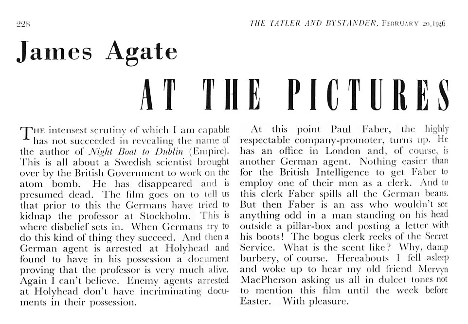 Night Boat to Dublin review by James Agate in The Tatler 20 February 1946