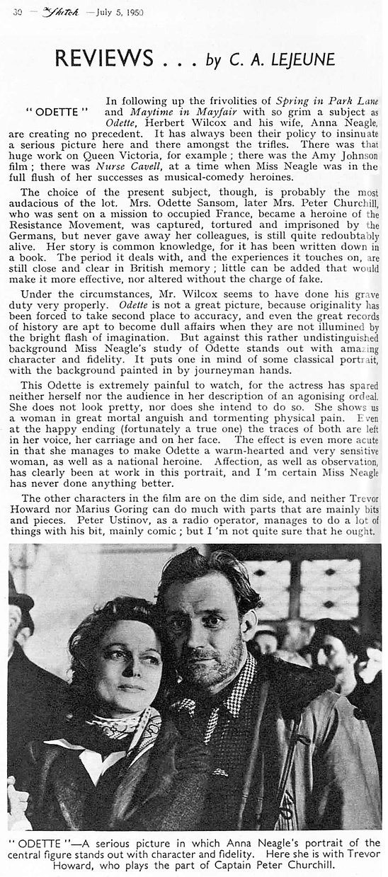 Odette review by C.A. Lejeune in The Sketch 5 July 1950