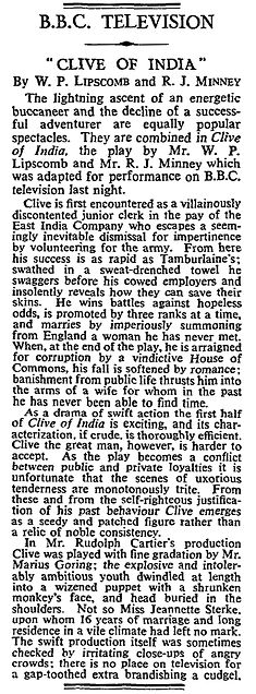 Clive of India review in The Times 31 December 1956