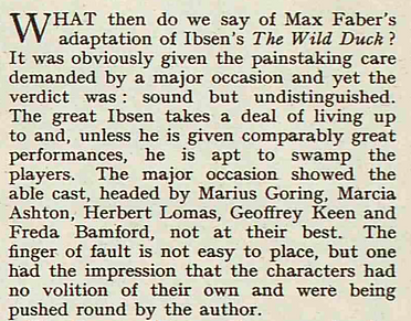 'The Wild Duck' review in The Sketch 12 March 1952