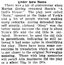 Nora article (re renaming play) in the Brandon Daily Sun 14 March 1939