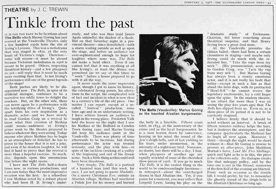 The Bells review by J.C. Trewin in the Illustrated London News 3 February 1968