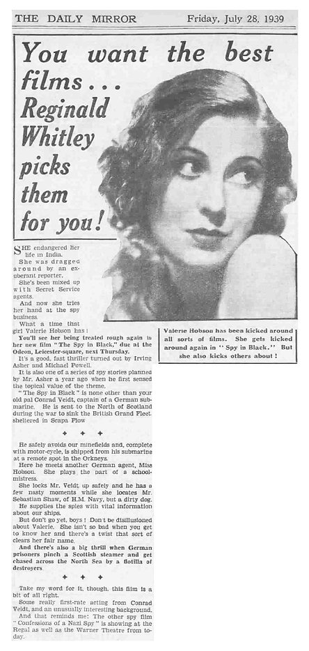 The Spy in Black review in the Daily Mirror 28 July 1939