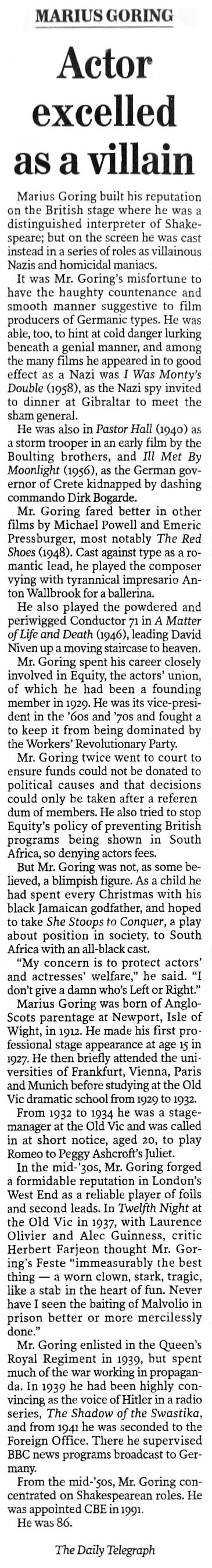 Marius Goring Obituary in The Daily Telegraph