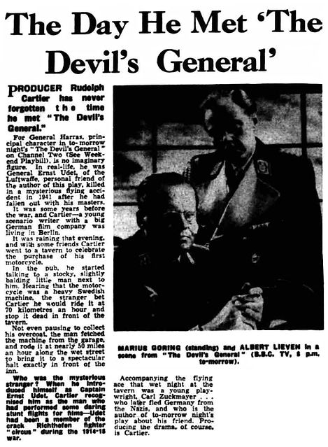 The Devil's General article - When Cartier met the real general in The Liverpool Echo & Evening Express 13 August 1960