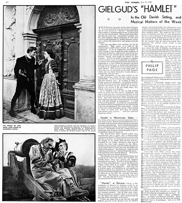 Hamlet article & review by Philip Page in The Sphere 15 July 1939