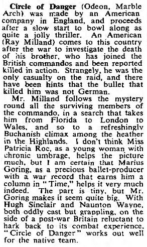 Circle of Danger review by C.A. Lejeune 22 April 1951