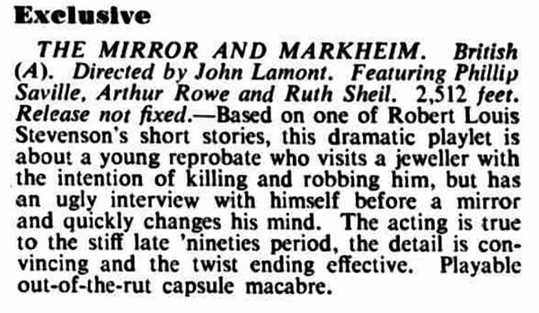 The Mirror and Markheim review in the Kinematograph Weekly 20 January 1955