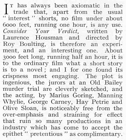 Consider Your Verdict review in The Bystander 8 February 1939