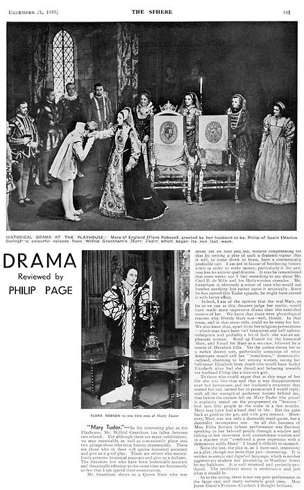 Mary Tudor review by Philip Page in The Sphere 21 December 1935