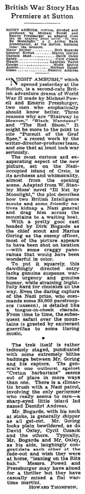 Night Ambush (Ill Met by Moonlight) review in The New York Times 25 April 1958